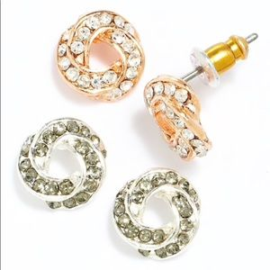 LC 2 Tone Simulated Crystal Love Knot Button  Set
